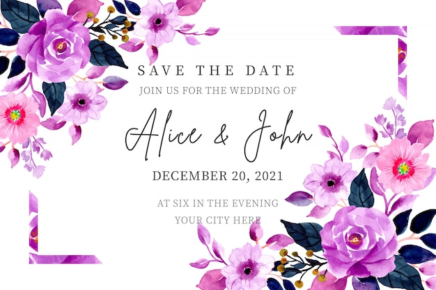 Paarse bruiloft uitnodiging met bloemen aquarel