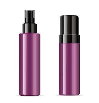 Paarse cosmetische plastic of glazen fles dispenser