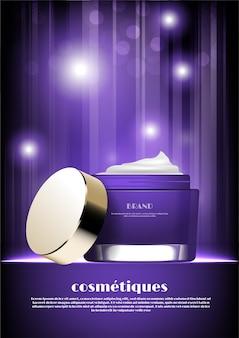 Paarse cosmetische pot met glitter licht concept