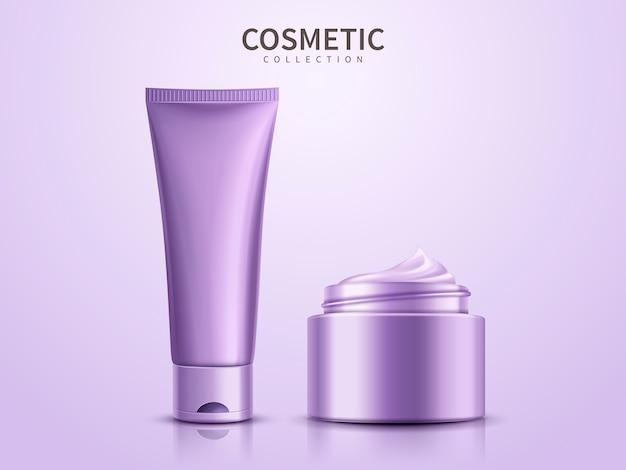 Paarse cosmetische productsjablonen, lege containers op paarse achtergrond in afbeelding