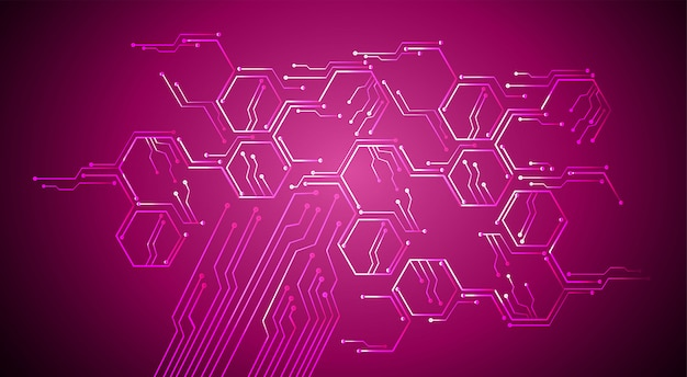 Paarse cyber circuit technologie van de toekomst achtergrond