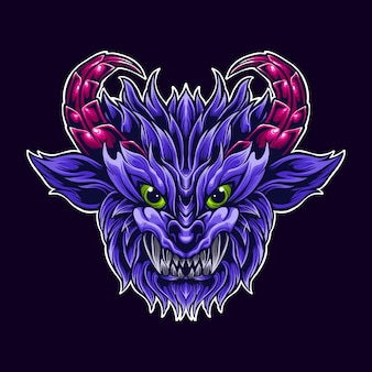 Paarse demon geit hoorn logo mascotte kunst illustratie