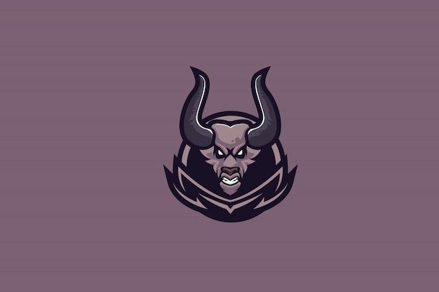 Paarse demon-illustraties voor logo van de esports-mascotte