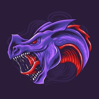Paarse draak hoofd illustratie