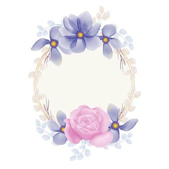 Paarse en blauwe bloem en roze roos aquarel bloemenframe