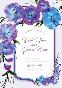 Paarse en blauwe bloemenhuwelijksuitnodiging