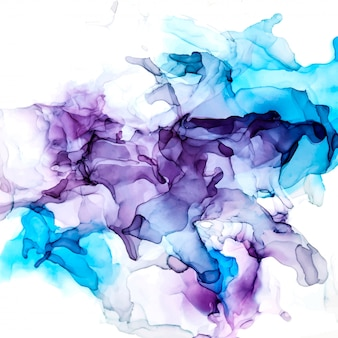 Paarse en blauwe tinten aquarel achtergrond, natte vloeistof, hand getekende vector aquarel textuur