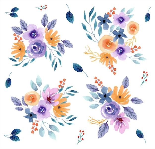 Paarse en gele bloemen aquarel regelingen set