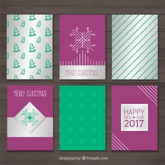 Paarse en groene kerstkaart set