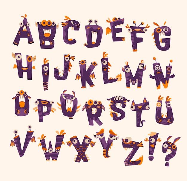Paarse en oranje halloween-monsterlettertypen
