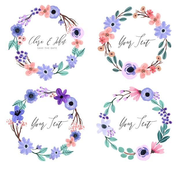 Paarse en pastel bloemen gouache krans set