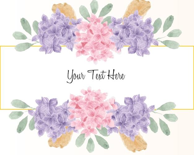 Paarse en roze hortensia aquarel bloemenrand