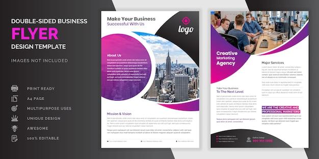Paarse en roze kleuren abstracte creatieve moderne professionele dubbelzijdige zakelijke flyer