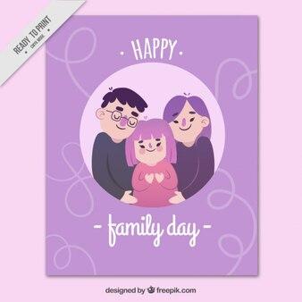 Paarse familie dag cad in plat design