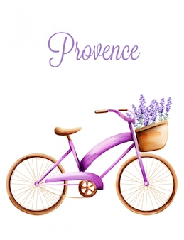 Paarse fiets met lavendel in de voormand