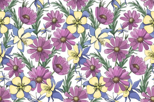 Paarse, gele, blauwe vector tuin bloemen geïsoleerd op wit