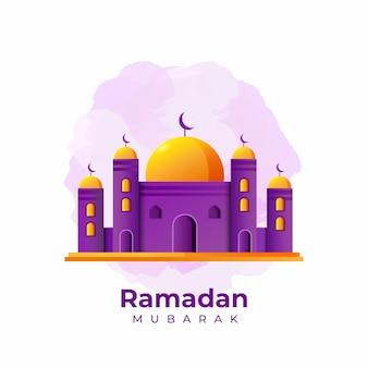 Paarse & gele platte eid mubarak vector