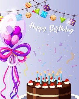 Paarse gelukkige verjaardagskaart