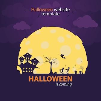 Paarse halloween website sjabloon. halloween komt er aan
