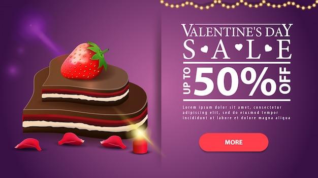 Paarse horizontale valentijnsdag korting banner