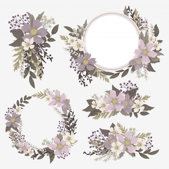Paarse illustraties bloemen set
