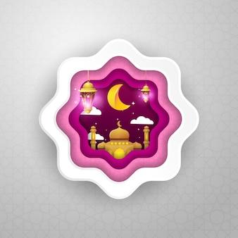 Paarse islamitische ramadan badge met gouden moskee