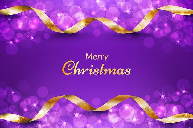 Paarse kerst achtergrond met gouden lint en glitter bokeh effect.