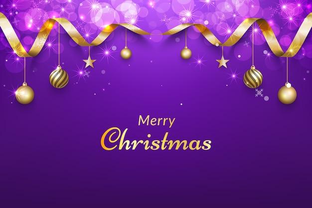 Paarse kerst achtergrond met gouden lint, glitter bokeh effecten en ornamenten.