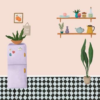 Paarse koelkast in een perzikroze keukenschetsstijlvector