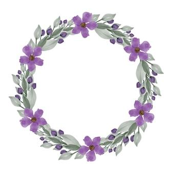 Paarse krans cirkelframe met paarse bloem en groene bladeren rand