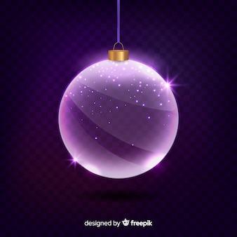 Paarse kristallen kerstbal