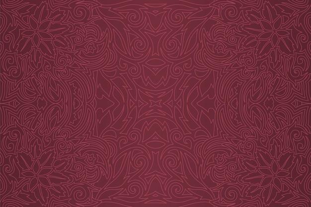 Paarse kunst met lineair bloemen naadloos patroon