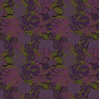 Paarse monstera verlaat naadloos patroon op een groene vectorillustratie als achtergrond