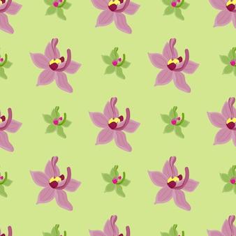 Paarse orchideebloemen bloeien naadloos patroon in doodle-stijl