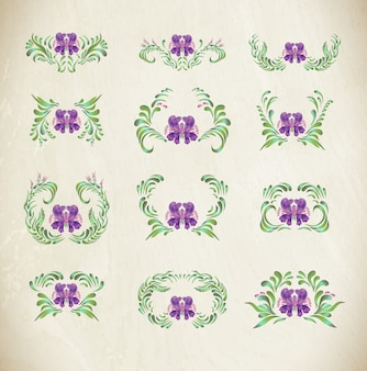 Paarse ornamenten met randen