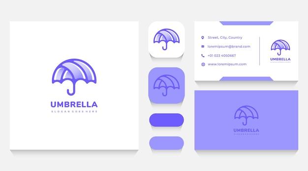 Paarse paraplu logo sjabloon en visitekaartje