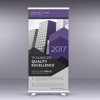 Paarse pijl stijl modern roll up banner template