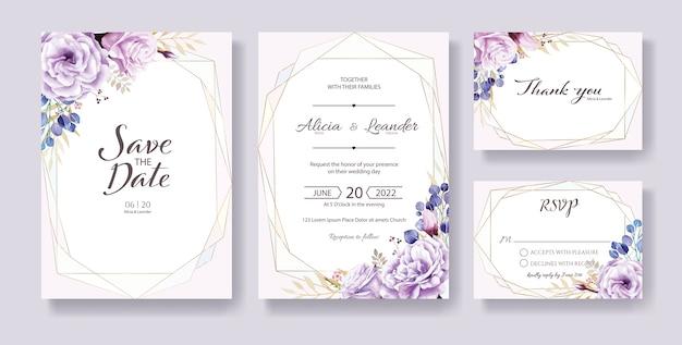 Paarse roos bruiloft uitnodiging, bewaar deze datum, dank u, rsvp kaartsjabloon.