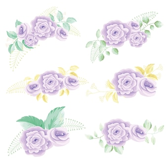 Paarse roos met bladeren