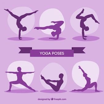 Paarse silhouetten yoga houdingen pak