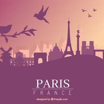 Paarse skyline van parijs ontwerp