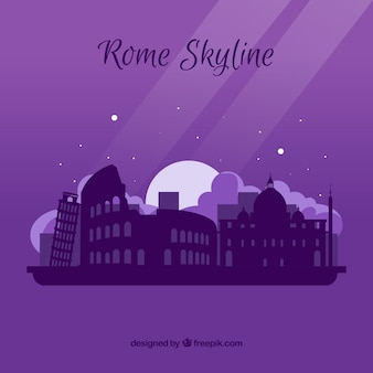 Paarse skyline van rome