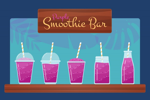 Paarse smoothies of fruitcocktail-set