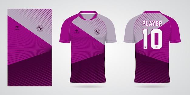 Paarse sportjersey-sjabloon voor teamuniformen en voetbalt-shirtontwerp