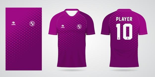 Paarse sporttrui-sjabloon voor teamuniformen en voetbalt-shirtontwerp