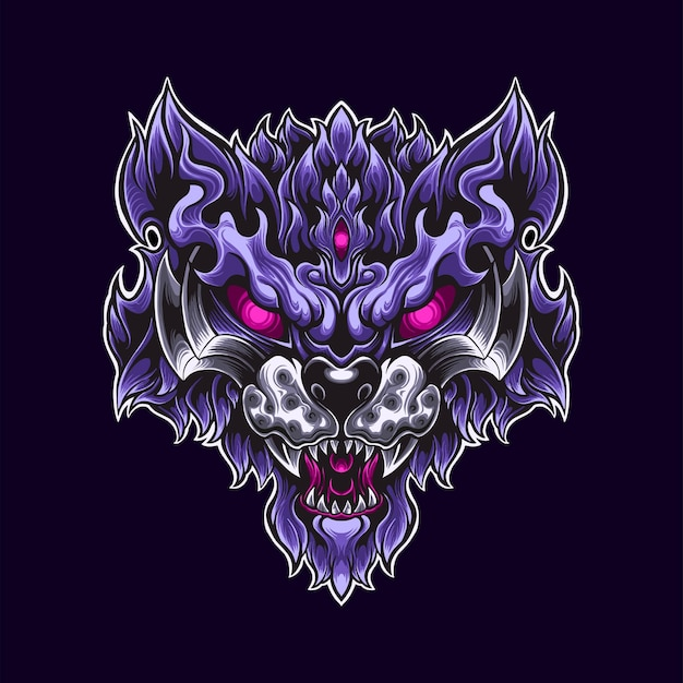 Paarse tiger warrior logo mascotte illustratie