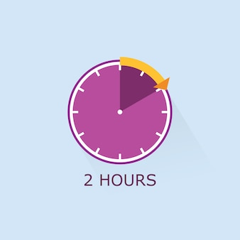 Paarse timerpictogram met oranje afstandspijl