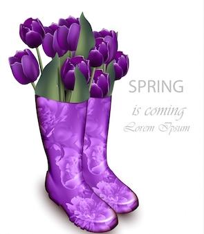 Paarse tulp bloemen laarzen
