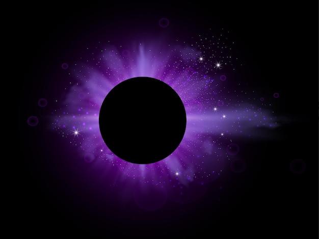 Paarse uitbarsting met fonkelende stralen en lensflare-effect paarse lichten barsten van magische stofdeeltjes Premium Vector