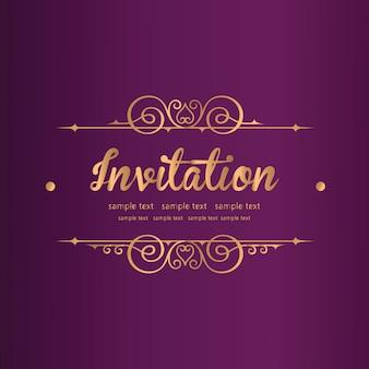 Paarse uitnodiging met kant bloemenornament
